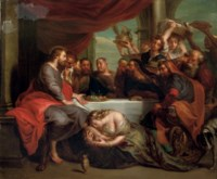 Maria Magdalene washing the feet of Christ