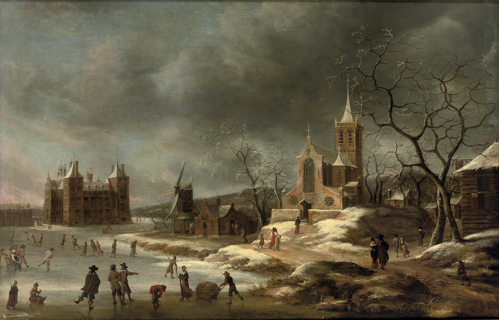 A winter landscape with activities on the ice near Castle Buren, in Gelderland