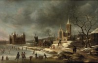 A winter landscape with activities on the ice near Castle Buren, in Gelderland