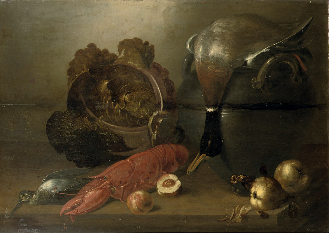 A lobster, a snipe, a duck lying on a cauldron, vegetables and pears, all on a wooden table