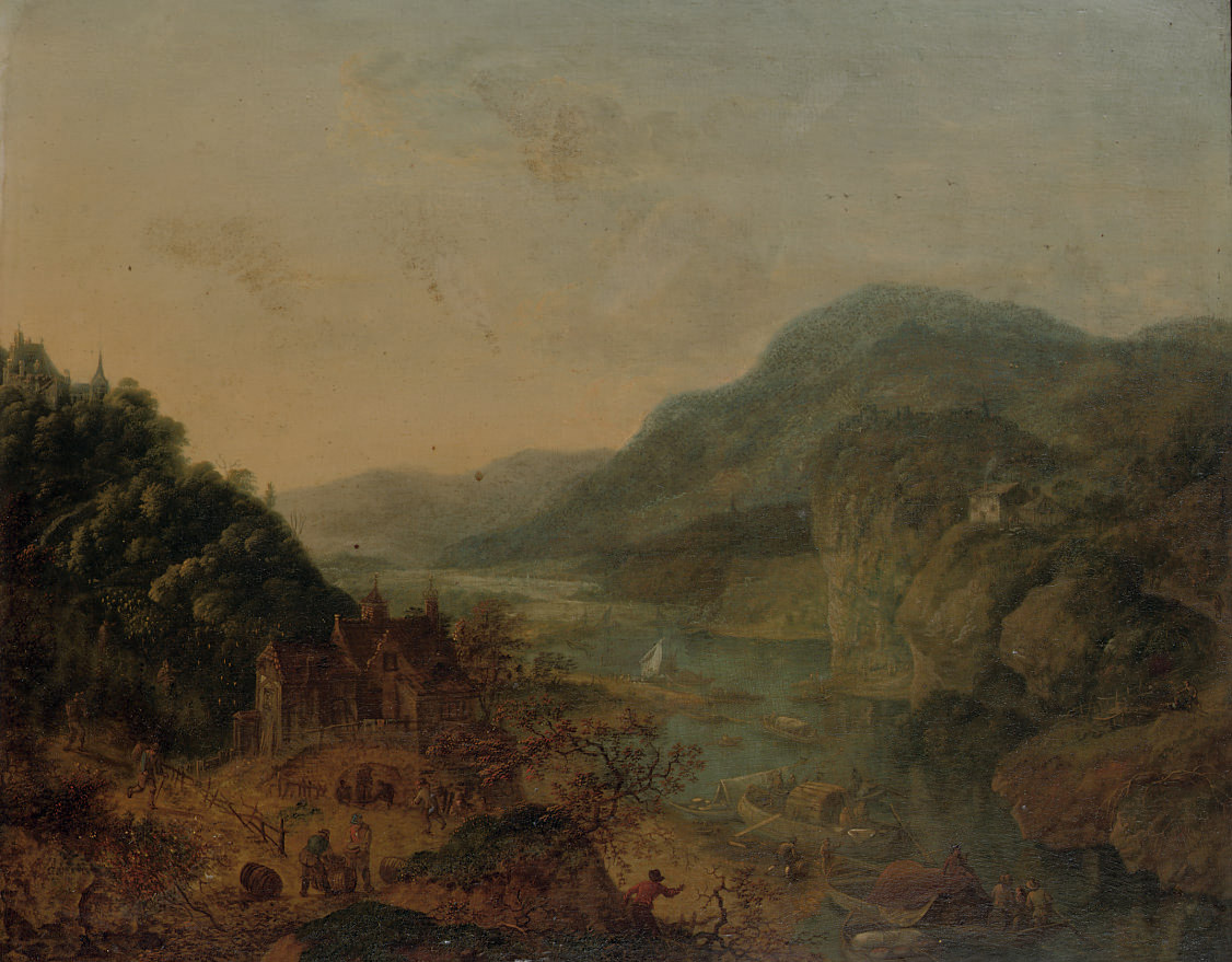 An extensive mountainous river landscape with activities near the water, a castle on a mountain beyond