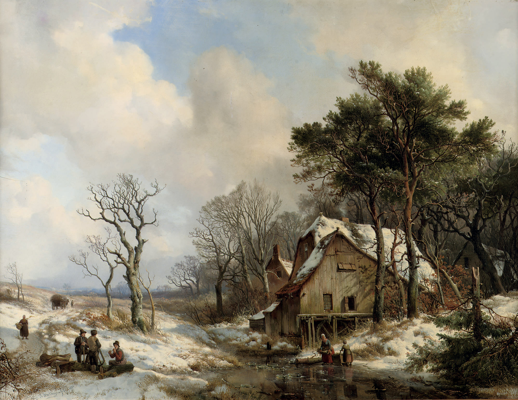 Figures on a frozen stream on the outskirts of a village