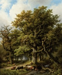 A wooded landscape with a herdsman and his cattle resting under an oak tree