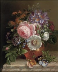 Bouquet of summer flowers on a marble edge