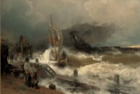 A fishing boat and a steamer in rough seas