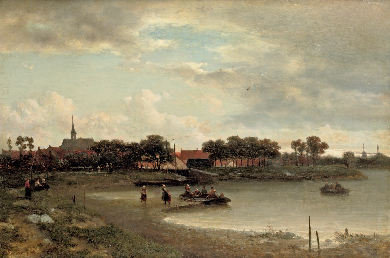 A ferry crossing near a Dutch town