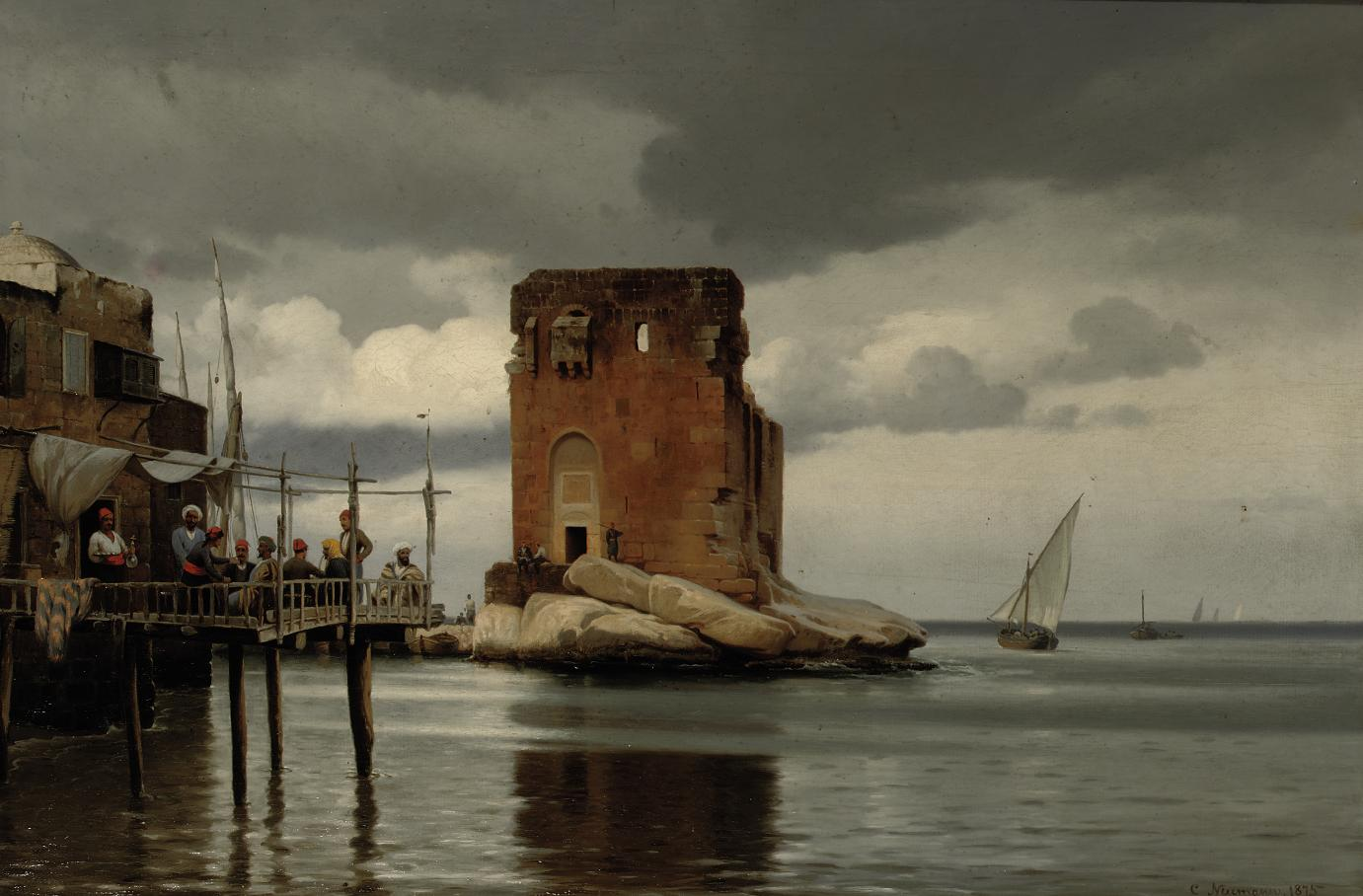 Ved tolboden i Beyroeth: scene of a harbour with a toll port, Beirut