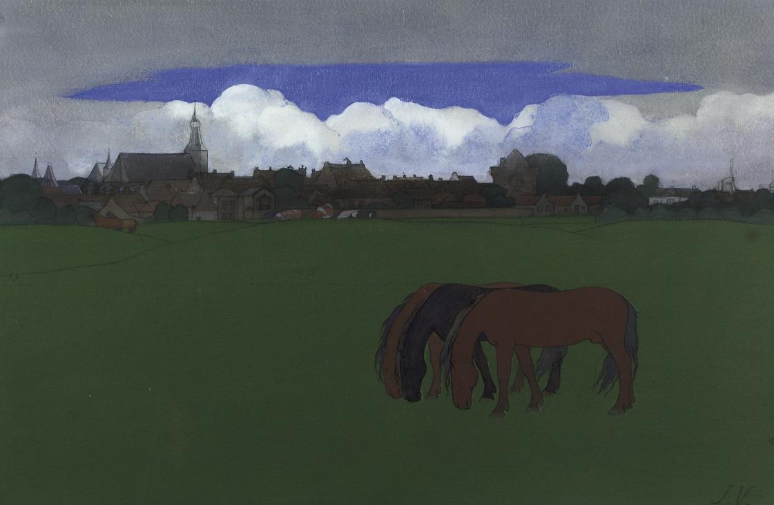 Horses in a meadow, A View of Hattem Beyond