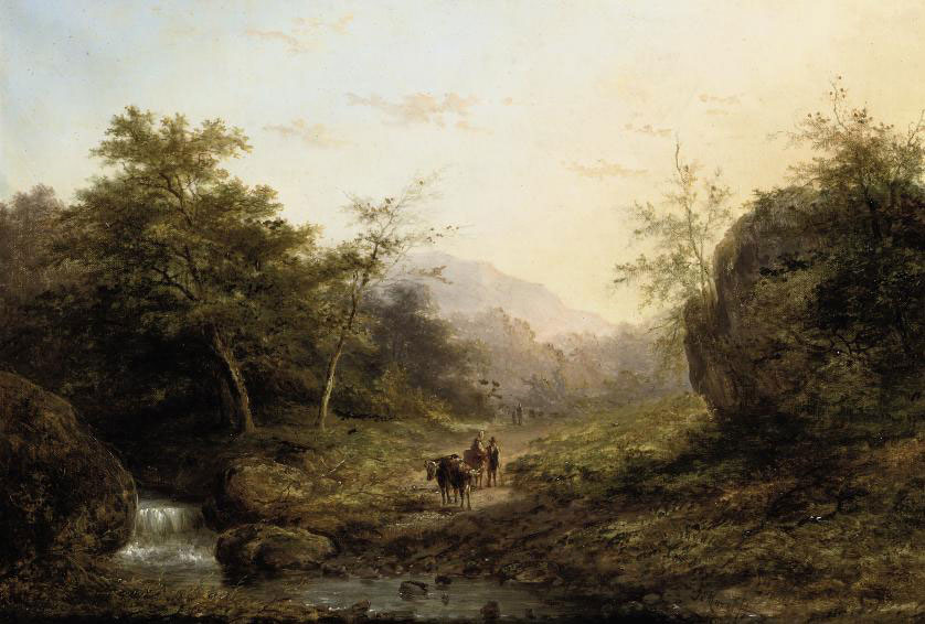 Figures and cattle on a forest path