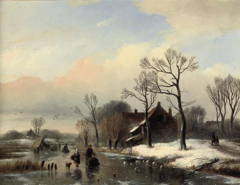 Figures on a frozen stream near a farm house
