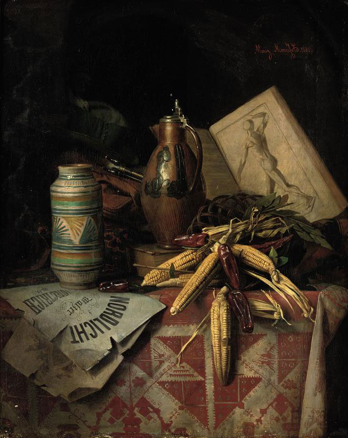 Still life with various souvenirs