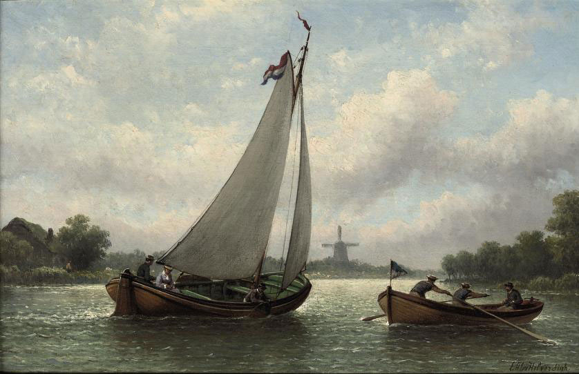 Boating on a river in summer