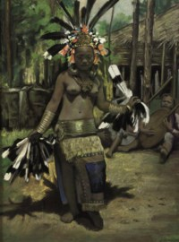 Dayak girl performing Hornbill dance