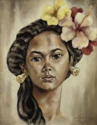 Portrait of Balinese woman with orchids