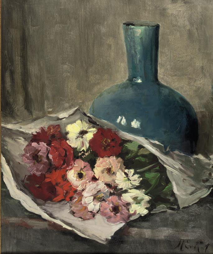 A still life with flowers and a blue vase
