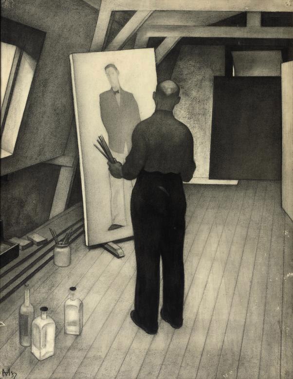 In de werkplaats - Paul Citroen bezig Maus te schilderen: in the studio of Paul Citroen