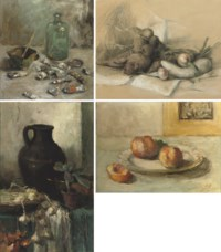 A still life with artist's tools