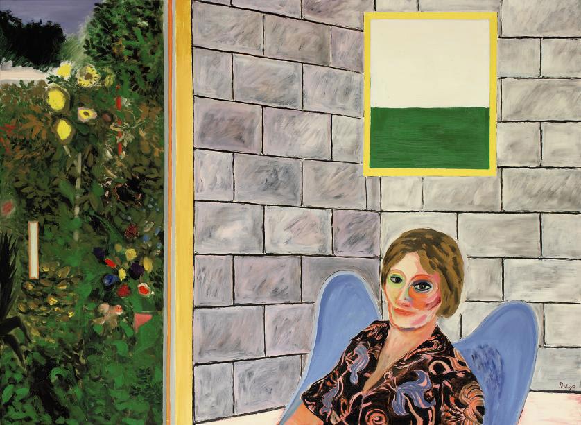Portret met en abstrakt en een realistisch venster