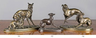 A FRENCH BRONZE WHIPPET PLAYIN