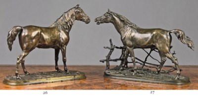 A FRENCH BRONZE HORSE ENTITLED
