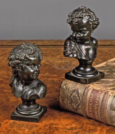 A BRONZE AND A SPELTER BUST OF