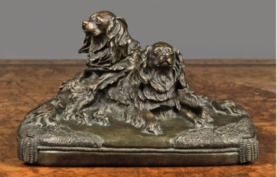 A FRENCH BRONZE GROUP OF TWO K
