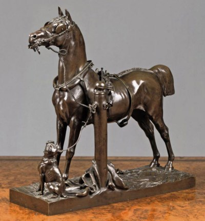 A FRENCH BRONZE GROUP OF A TET