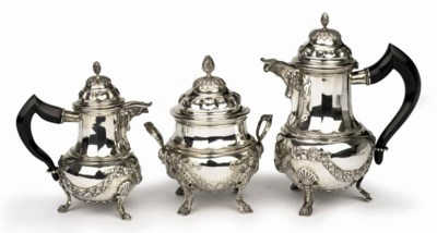 A Belgian silver three-piece c