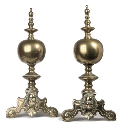 A PAIR OF DUTCH BRONZE AND WRO