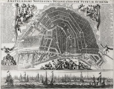 A DUTCH ENGRAVED MAP OF AMSTER
