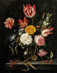 Tulips, roses, carnations and other flowers in a glass vase with red currants and raspberries on a stone ledge