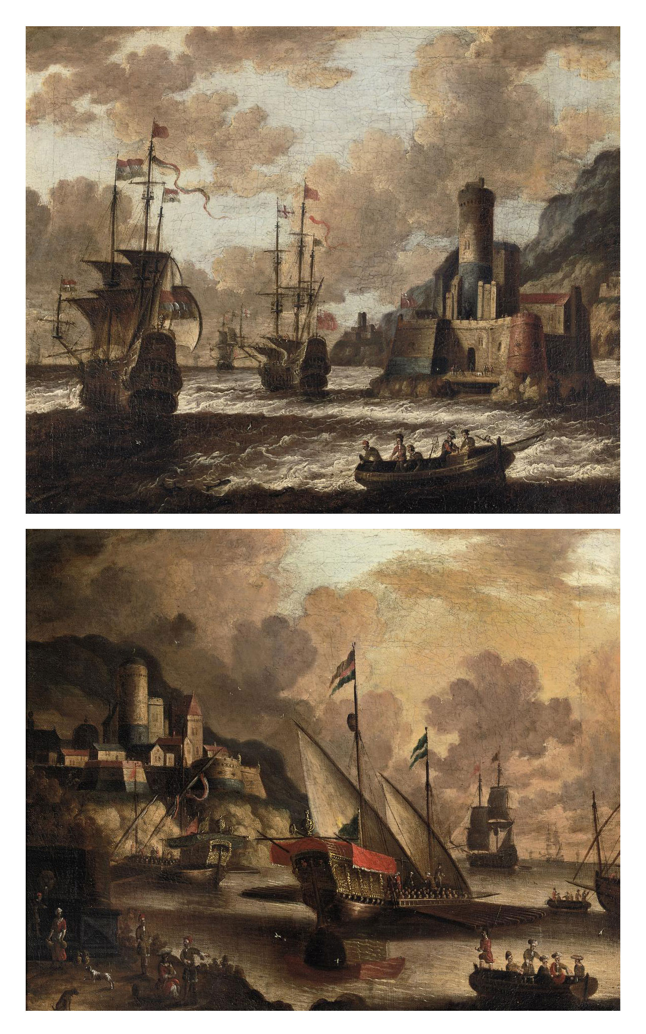 Dutch and English Man O'War off the coast near a fortified town; and Galley's and other ships at anchor in a natural harbor near a fortified town