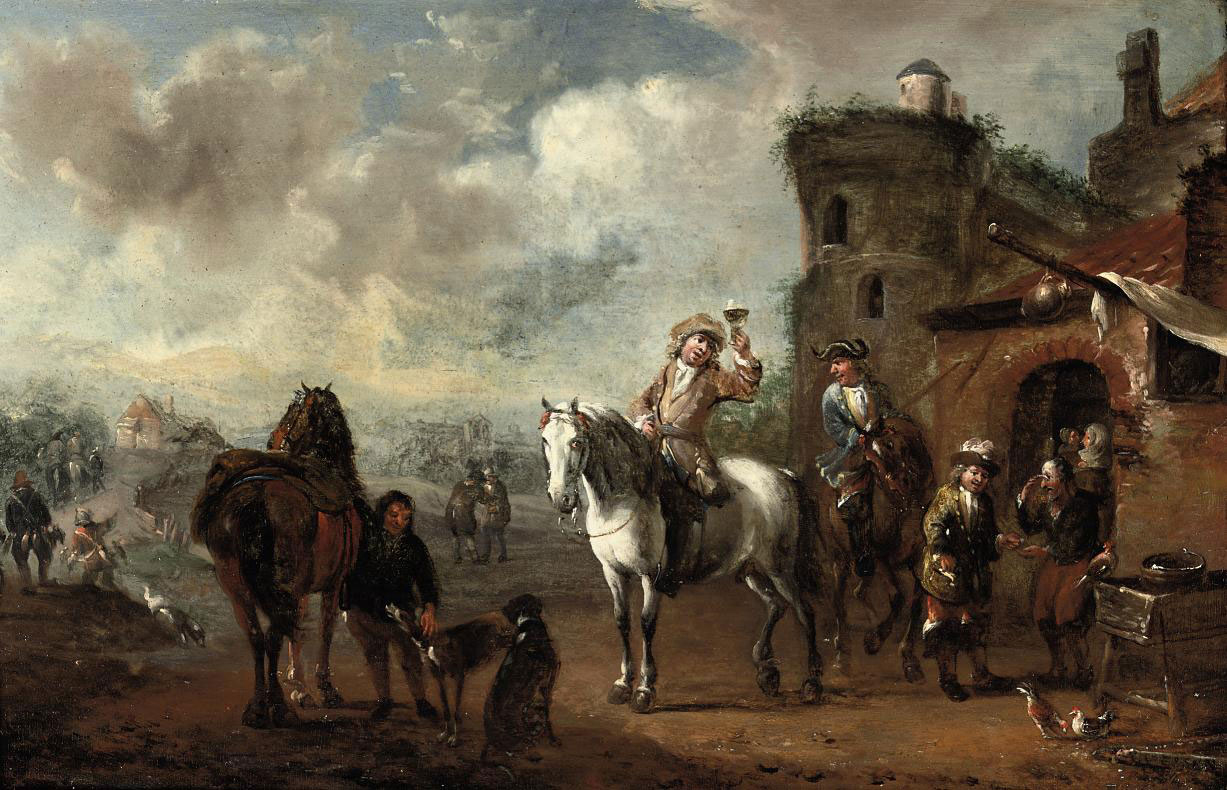 A hunting party stopping at an inn