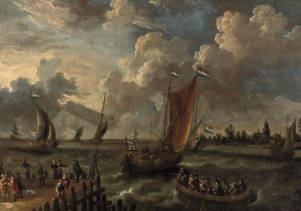 Shipping in an estuary with figures on a jetty and a town beyond