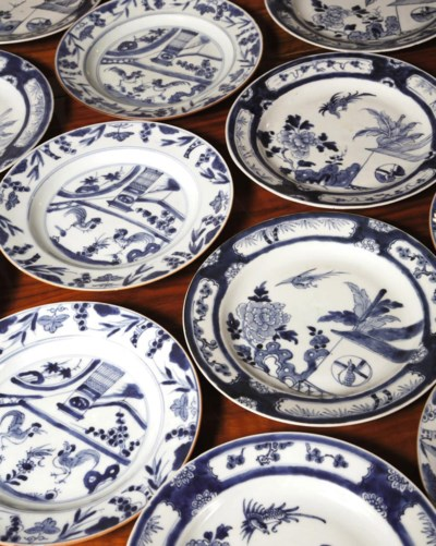 Two sets of twelve Chinese blu