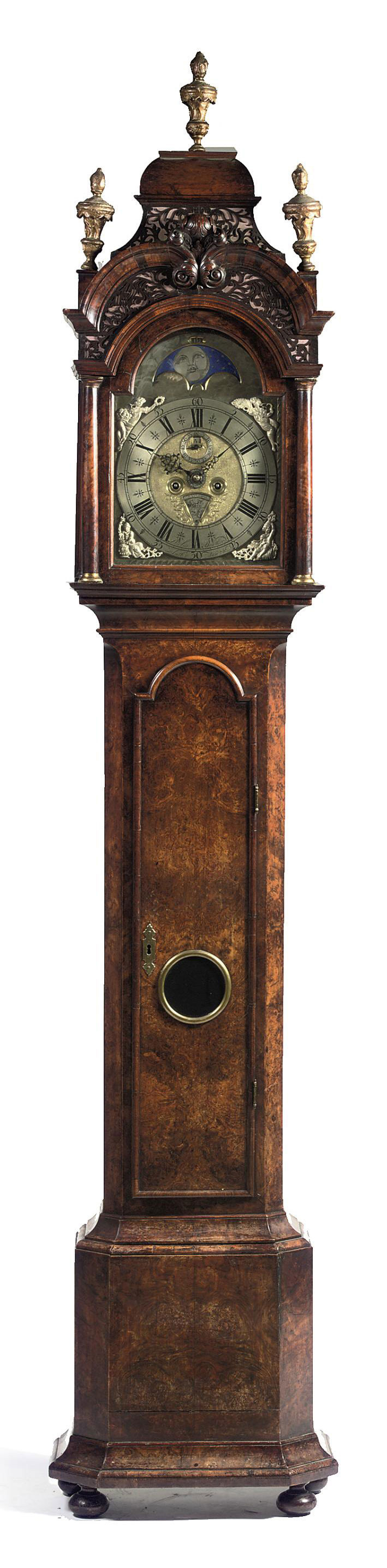 A DUTCH WALNUT AND BURR WALNUT LONGCASE CLOCK