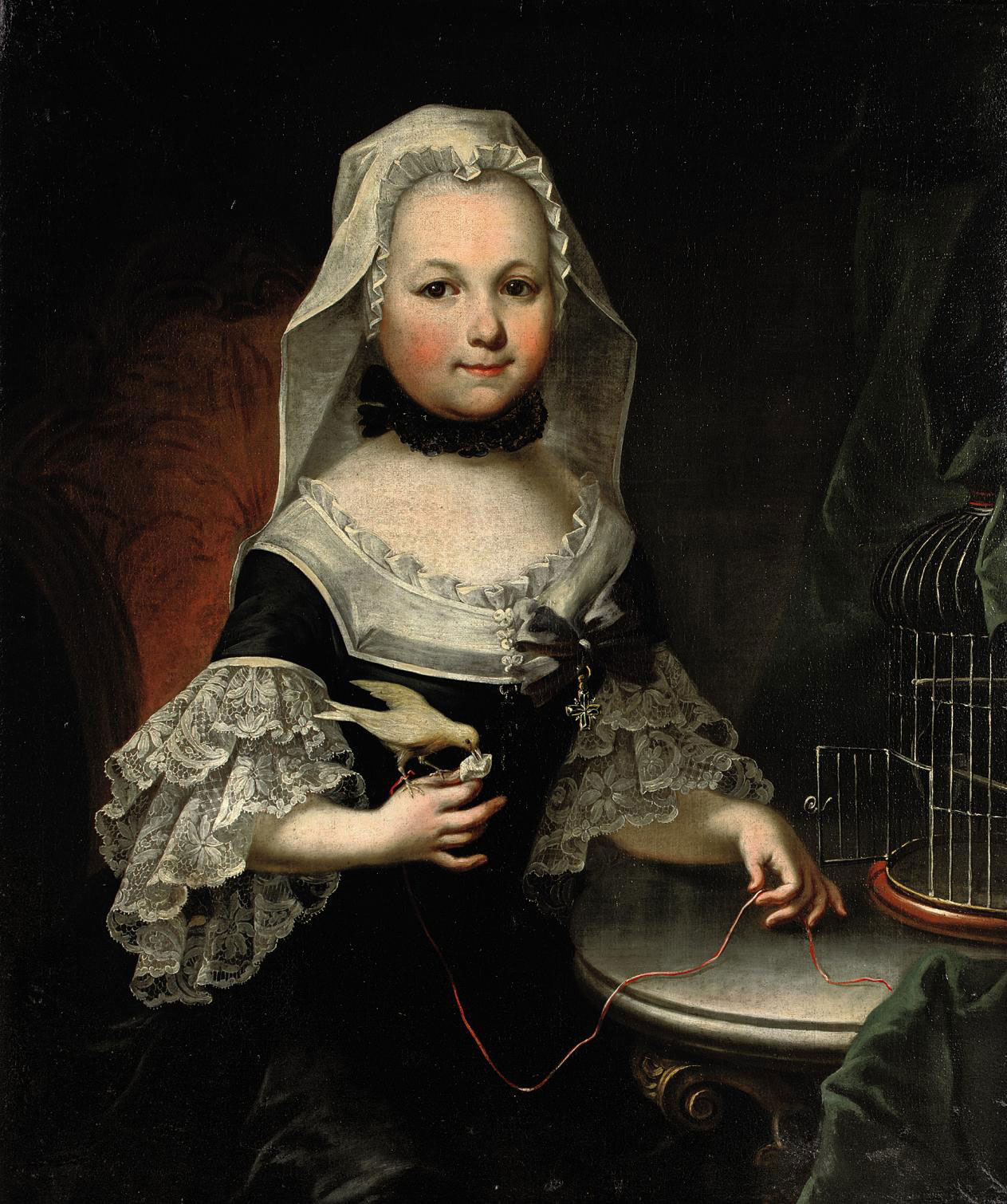 Portrait of Antonia, countess of Lamberg, three-quarter-length, in a black and white dress with lace cuffs, holding a bird by a string