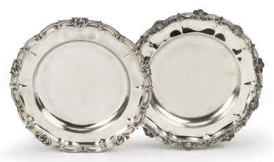 Two French silver dinner plate
