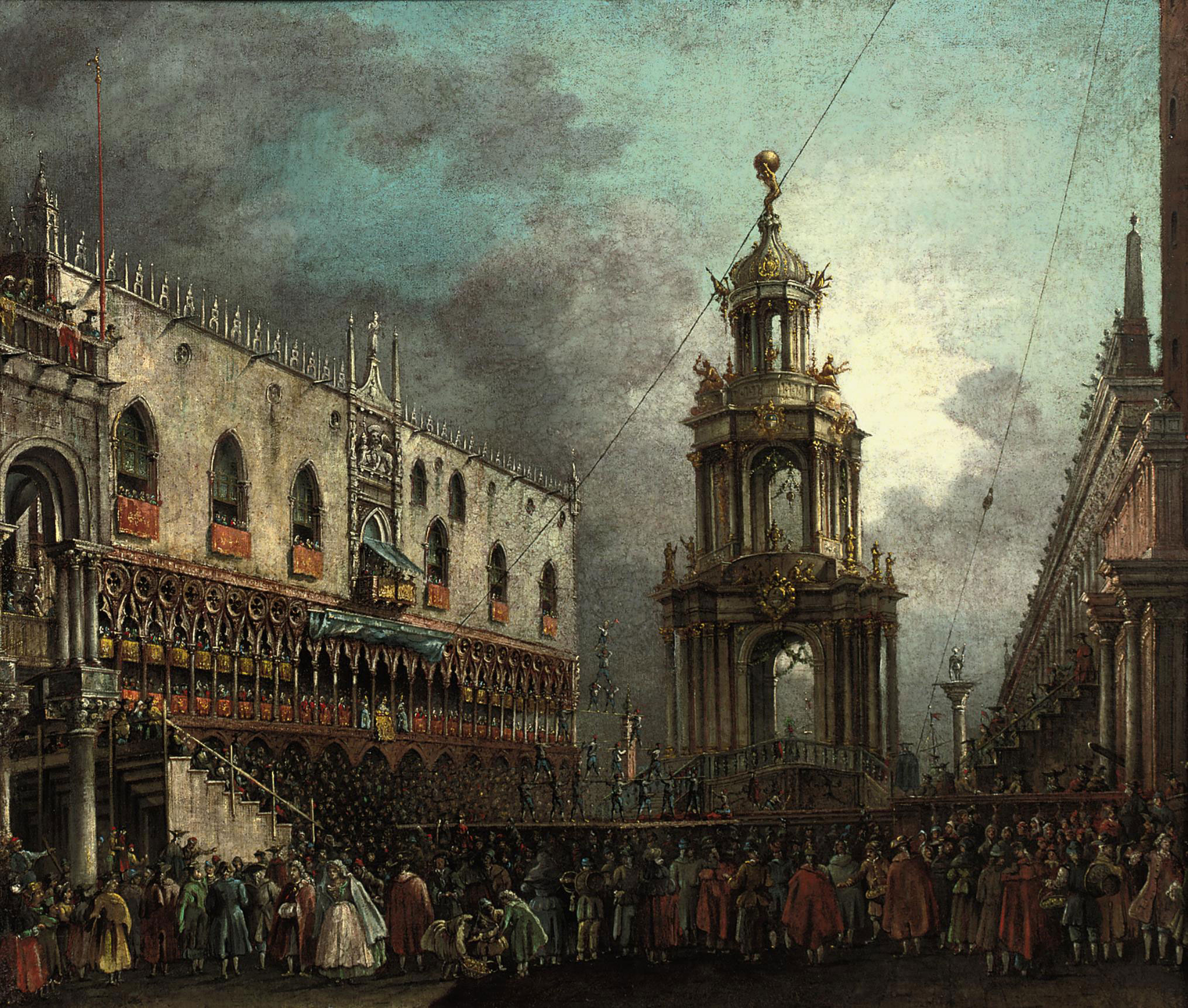 The 'Giovedi Grasso' festival on the Piazzetta in Venice