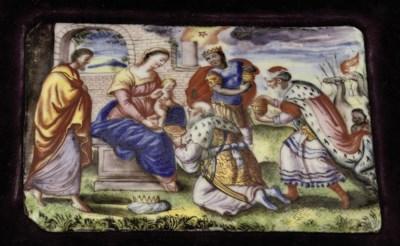 An enamel plaque depicting the