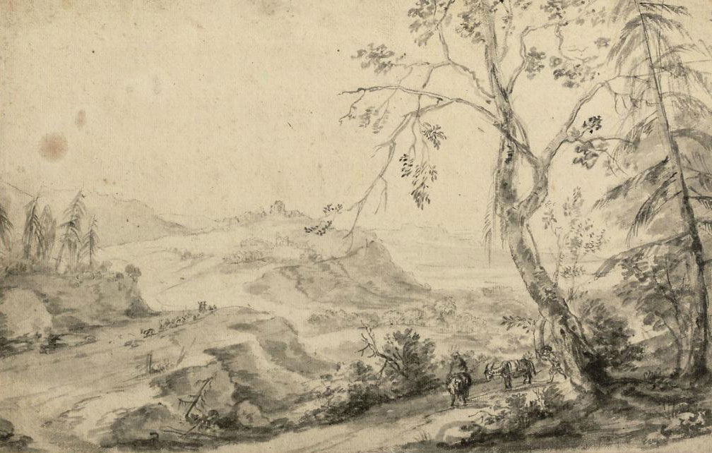 A landscape with cattle on a path