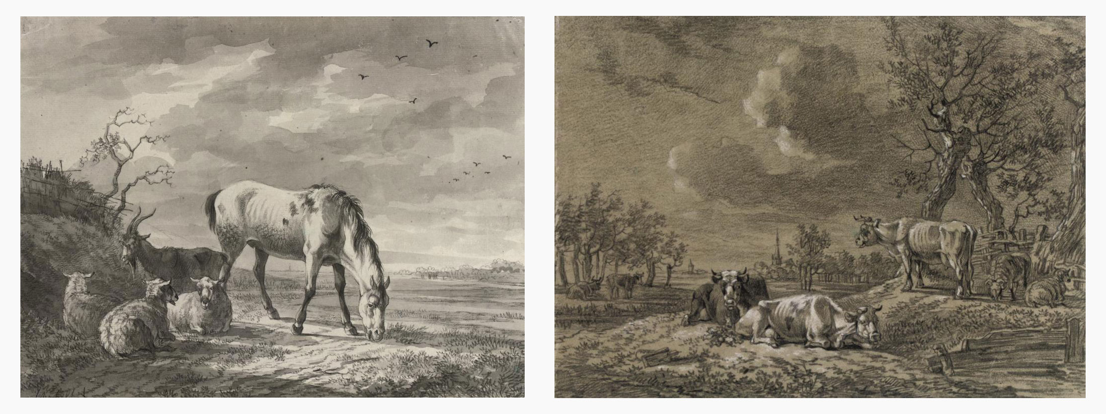 A horse and sheep in a meadow; and Cows and sheep resting in a landscape