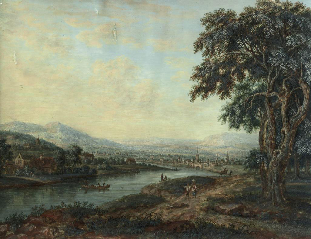 A river landscape with a town beyond