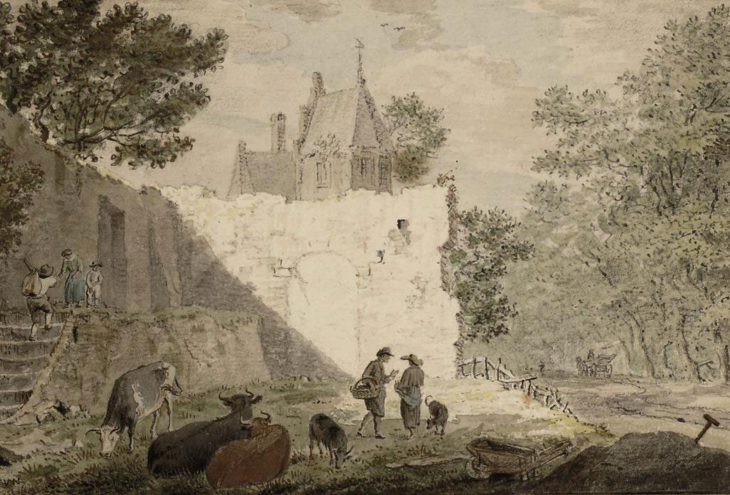 Townspeople and cattle near a ruin