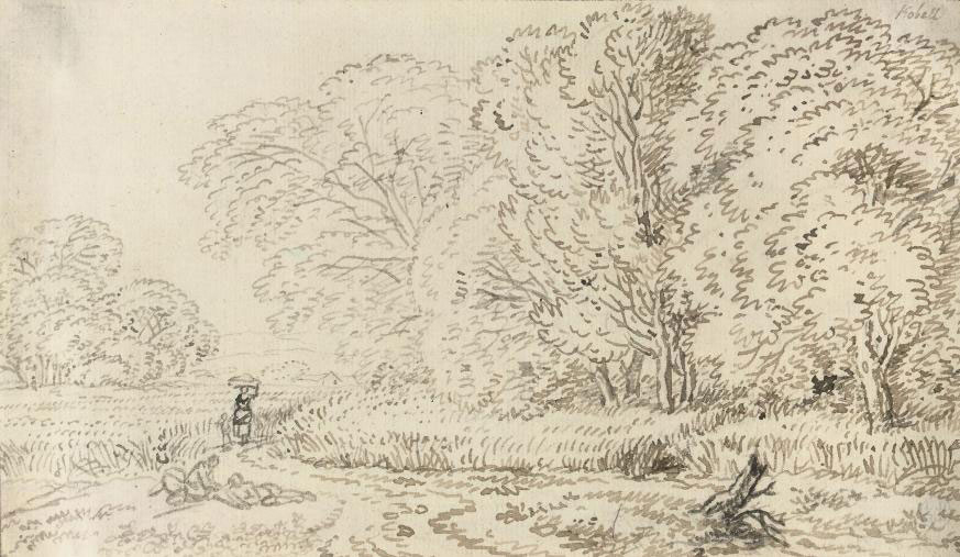 A wooded landscape with figures on a track