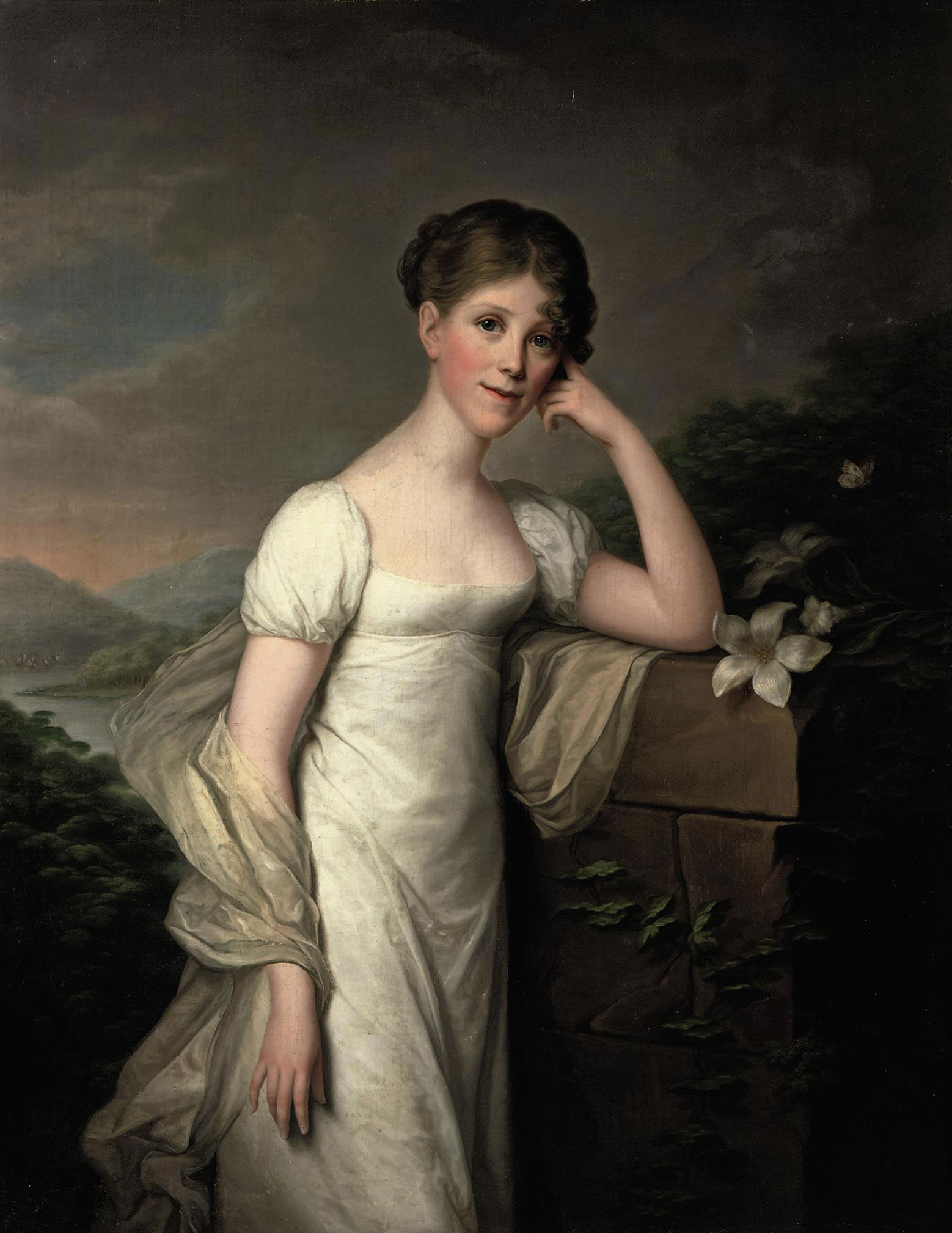 Portrait of Sophie Caroline von Berger, nee Gräfin Krag-Juel-Vind-Fries, three-quarter-length, in a white dress and a silk wrap, standing in a landscape, leaning on a pedestal with lilies