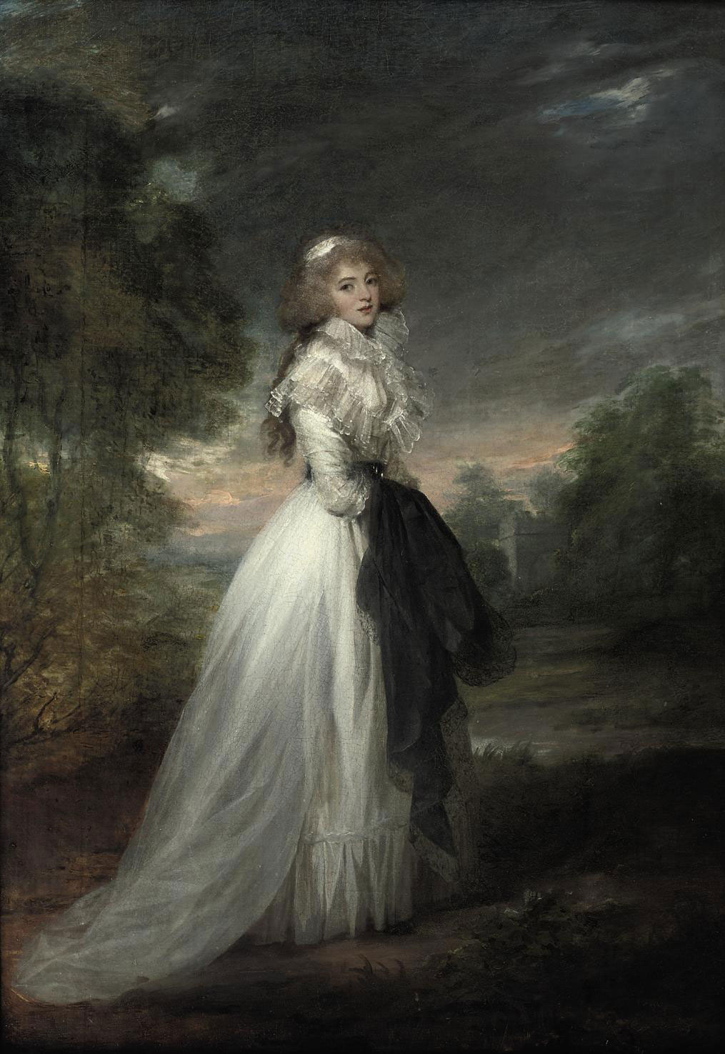 Portrait of a lady, full-length, in a white dress, standing in a park landscape holding a dark robe