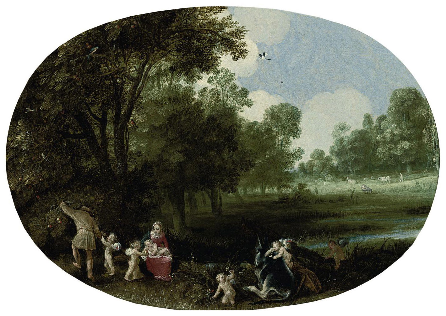 A wooded river landscape with the Rest on the Flight into Egypt