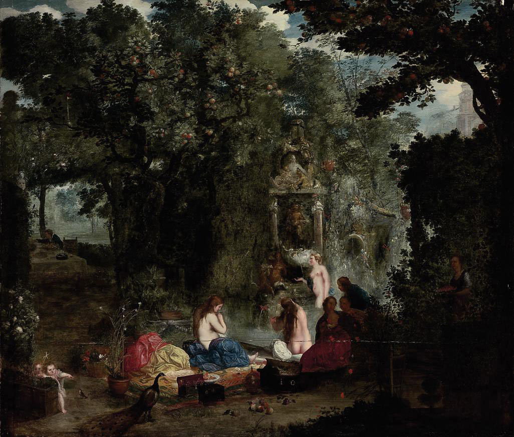 A classical landscape with nymphs bathing in a grotto