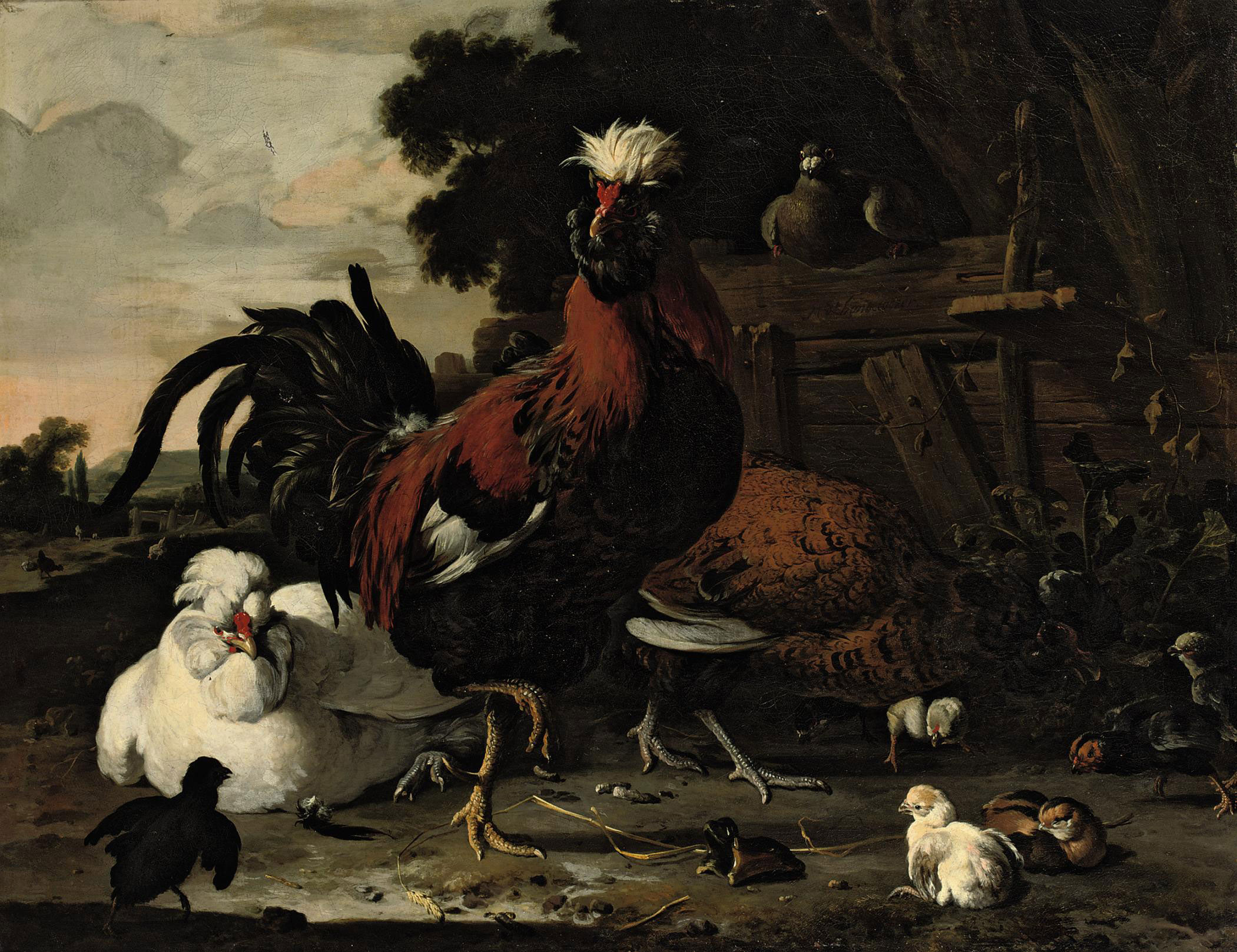 A rooster, hens, chicks and a pigeon near a wood paling in a landscape